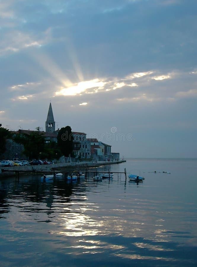 Zonsondergang in Kroatië stock fotografie