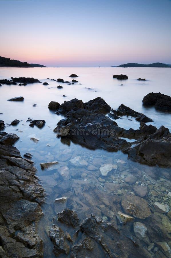 Zonsondergang in Kroatië stock afbeelding