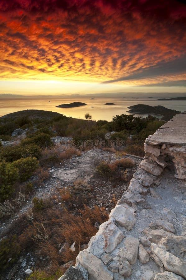 Zonsondergang in Kroatië royalty-vrije stock foto