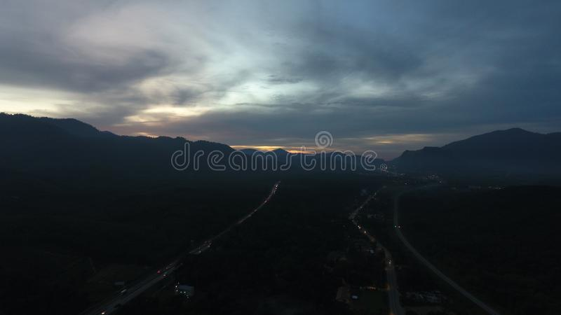 Zonsondergang in Kuala Kangsar royalty-vrije stock foto