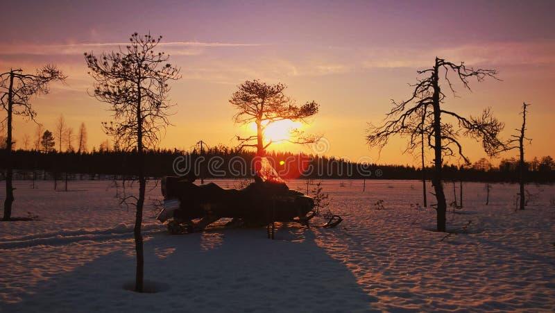 Zonsondergang in Kurkisuo stock foto's