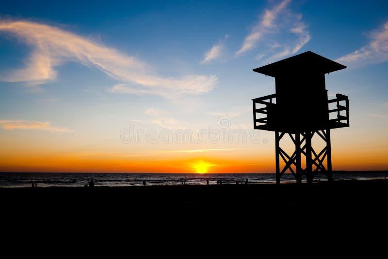 Zonsondergang in La Frontera van Conil DE stock afbeeldingen