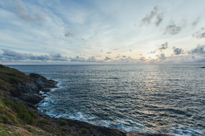 Zonsondergang in Laem Phrom Thep, Phromthep-Kaap royalty-vrije stock foto's
