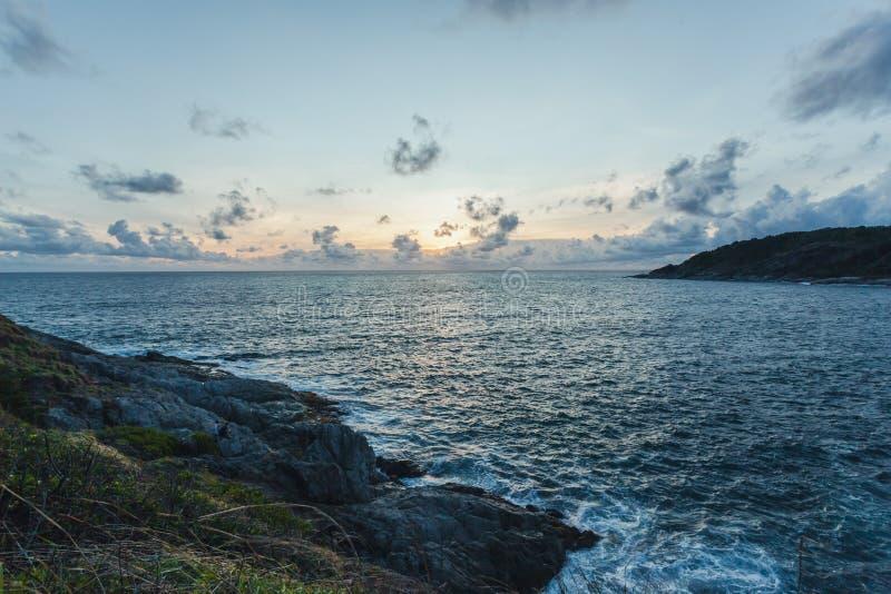 Zonsondergang in Laem Phrom Thep, Phromthep-Kaap royalty-vrije stock afbeelding
