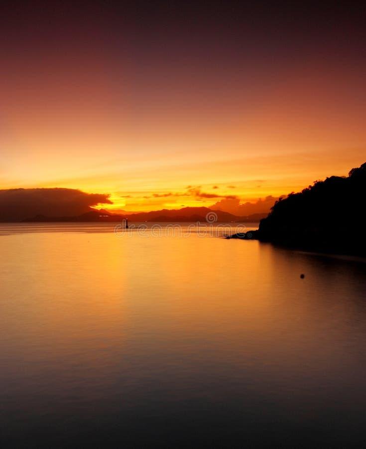 Zonsondergang in Lamma stock afbeelding
