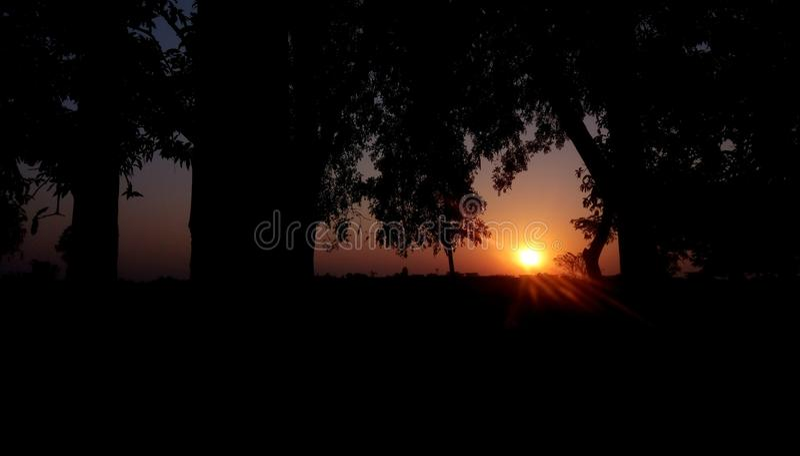 Zonsondergang in landbouwbedrijf royalty-vrije stock foto's