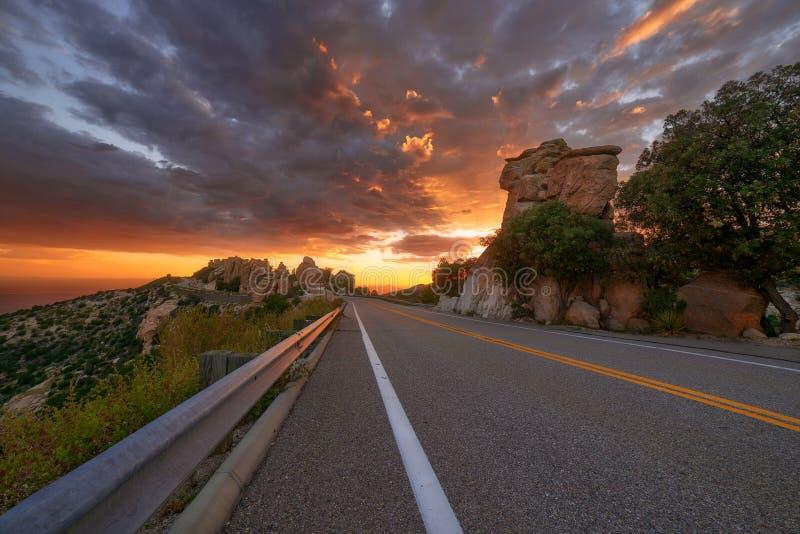 Zonsondergang langs Catalina Highway op MT Lemmon in Tucson, Arizona royalty-vrije stock foto