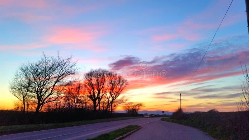 Zonsondergang langs een Landweg van Cornwall stock afbeelding