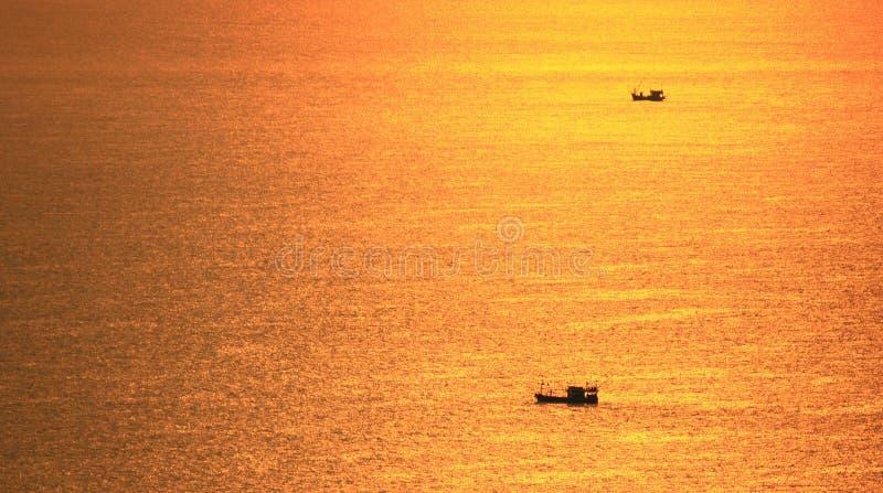 Zonsondergang in Larn eiland Chonburi Thaialnd stock afbeelding
