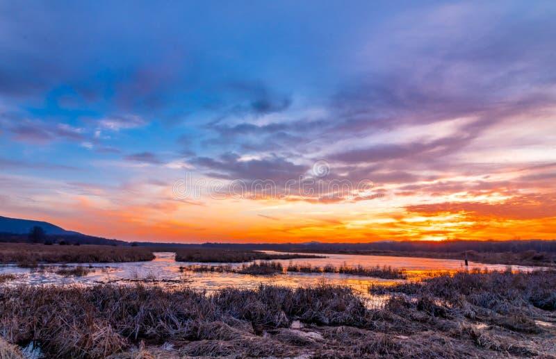 Zonsondergang in Liberty Loop in de recente winter royalty-vrije stock afbeelding