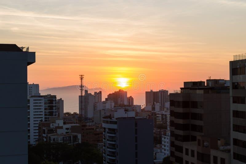 Zonsondergang in Lima stock fotografie