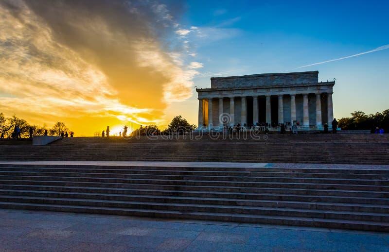 Zonsondergang in Lincoln Memorial in Washington, gelijkstroom stock afbeelding