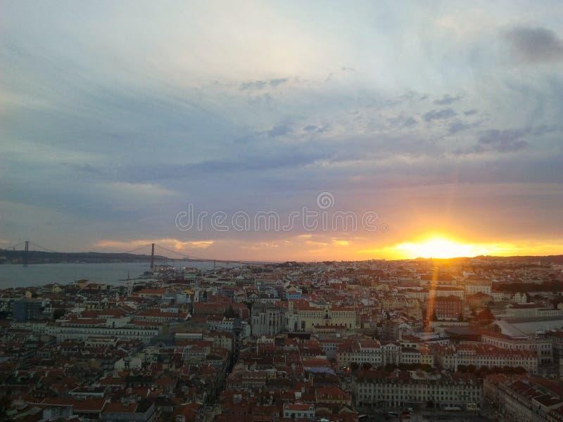Zonsondergang in Lissabon royalty-vrije stock foto's