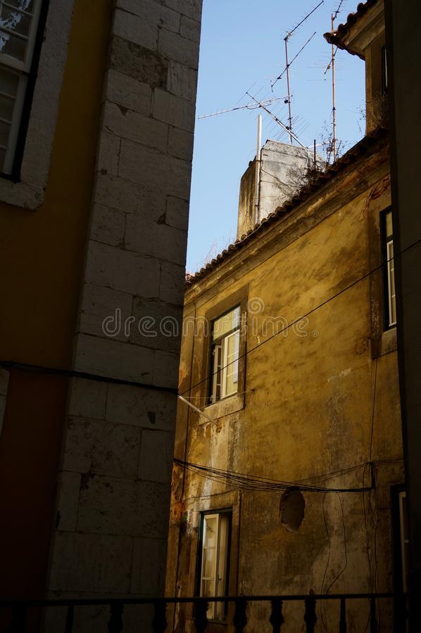 Zonsondergang Lissabon, Portugal stock afbeelding