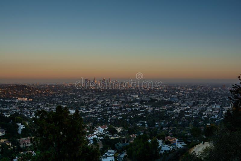 Zonsondergang Los Angeles stock afbeeldingen