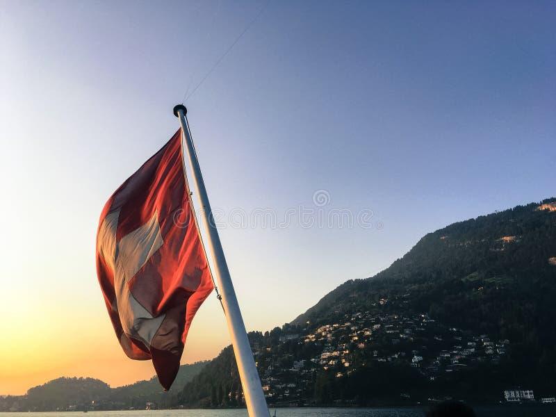 Zonsondergang in Lucern, Zwitserland royalty-vrije stock afbeeldingen