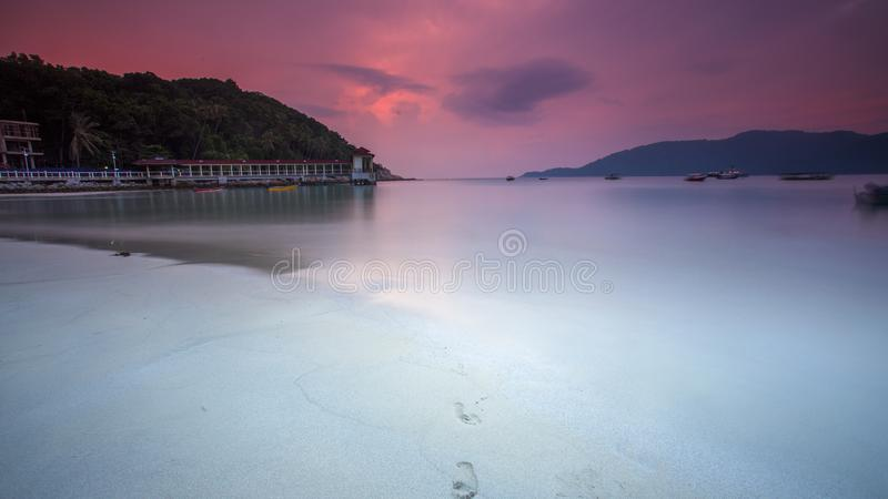 Zonsondergang in Lumut, Maleisië stock afbeeldingen