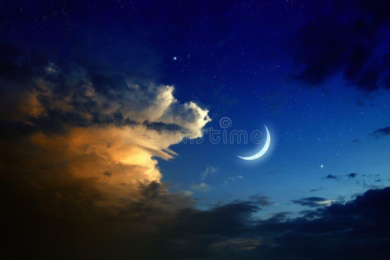 Zonsondergang, maan, sterren royalty-vrije stock foto's