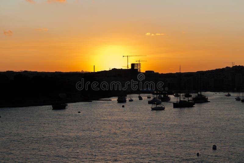 Zonsondergang Malta royalty-vrije stock afbeelding