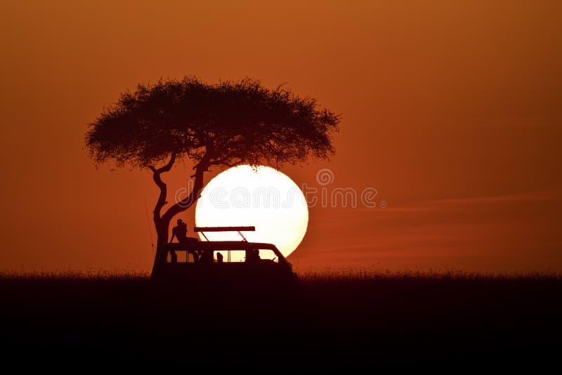 Zonsondergang in Masai Mara royalty-vrije stock afbeelding