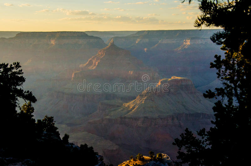 Zonsondergang in Mather Point, het Nationale Park van Grand Canyon royalty-vrije stock foto