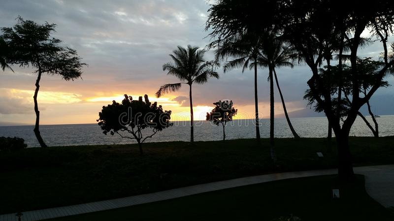 Zonsondergang in Maui stock foto