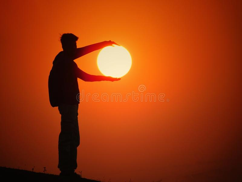 Zonsondergang met creativiteit stock afbeeldingen