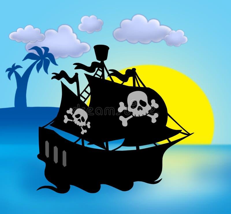 Zonsondergang met het silhouet van het piraatschip vector illustratie