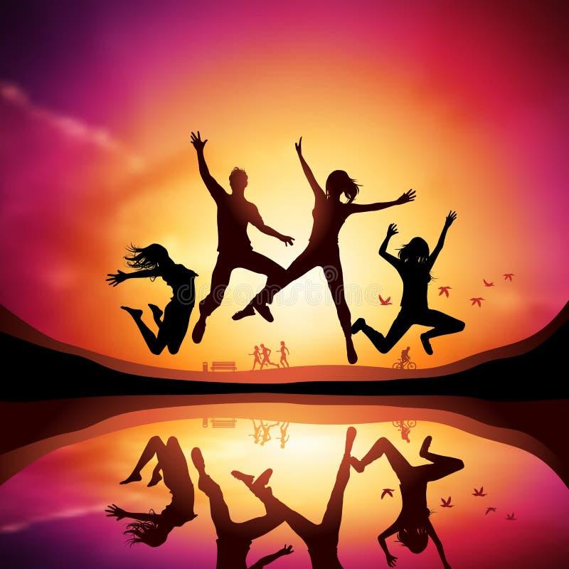 Zonsondergang met het Springen van Mensen stock illustratie
