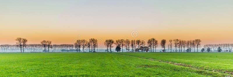 Zonsondergang met landelijk Nederlands gebied stock foto