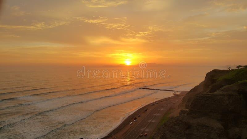 Zonsondergang miraflores Peru royalty-vrije stock foto's