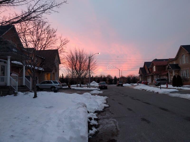 Zonsondergang in Mississauga, Ontario, Canada stock foto's