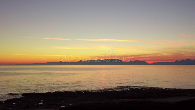Zonsondergang in Monemvasia stock afbeeldingen