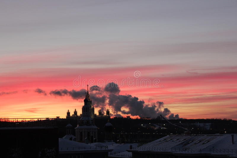 Zonsondergang in Moskou stock foto's