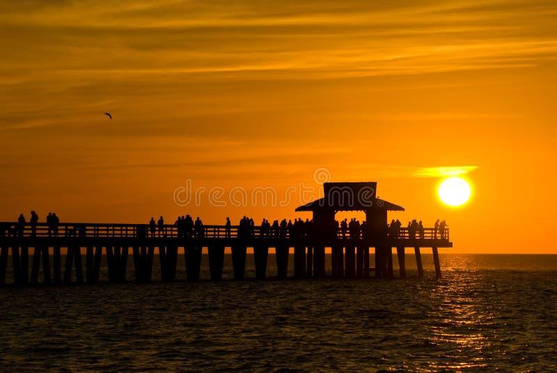 Zonsondergang in Napels, Florida, de V.S. stock foto