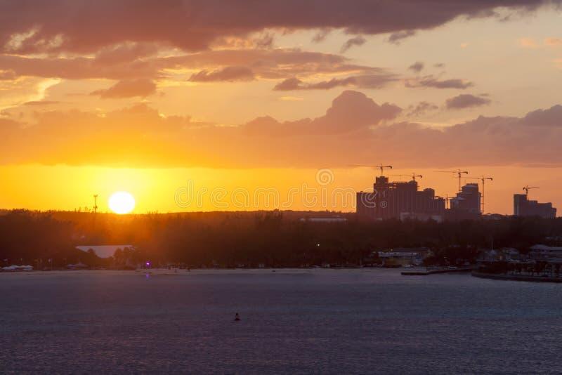 Zonsondergang in Nassau stock foto