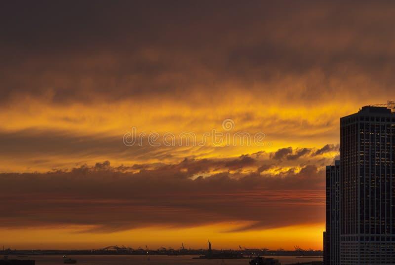 Zonsondergang in New York royalty-vrije stock foto