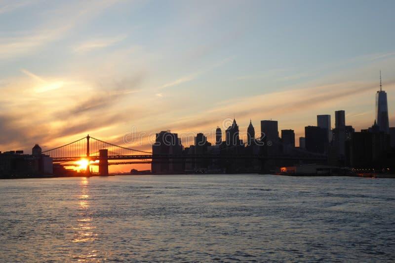Zonsondergang in New York stock afbeelding
