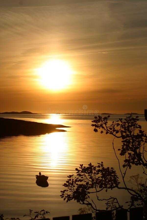 Zonsondergang in Noorwegen royalty-vrije stock foto
