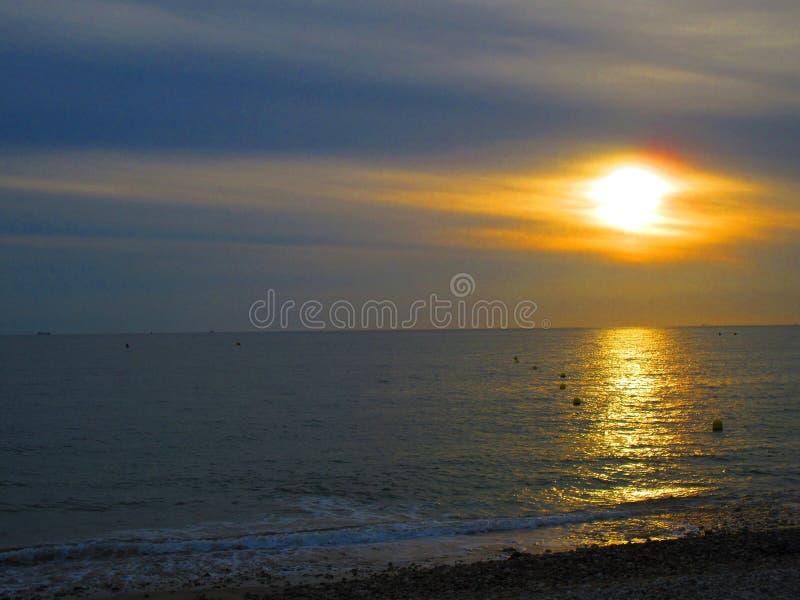 Zonsondergang in Normandië, Le Havre stock foto's