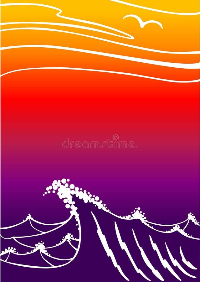 Zonsondergang in oceaan stock illustratie