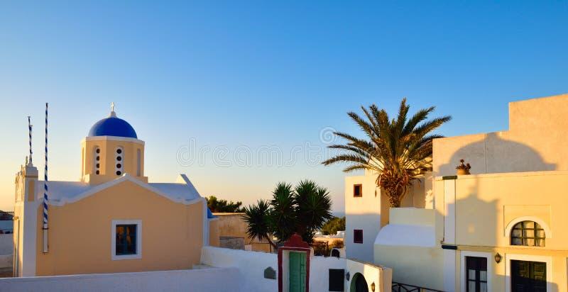 Zonsondergang in Oia dorp royalty-vrije stock afbeeldingen