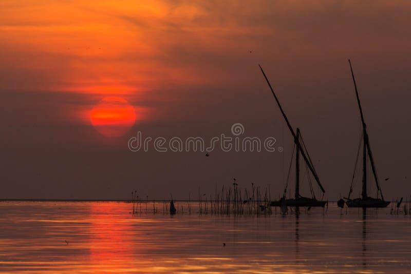 Zonsondergang op borolusmeer royalty-vrije stock afbeelding