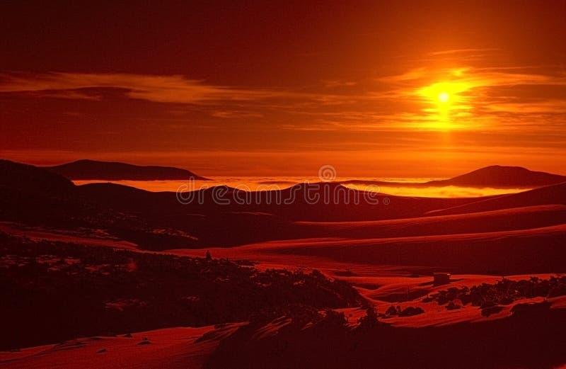 Zonsondergang op Bucegi royalty-vrije stock foto's