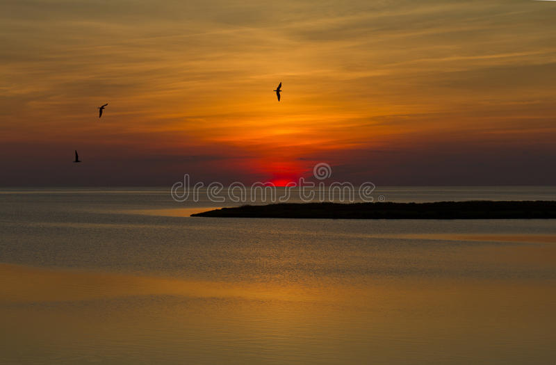 Zonsondergang op BuitenBanken, NC stock afbeeldingen