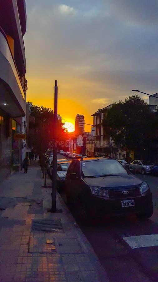 Zonsondergang op Cordoba stock afbeeldingen