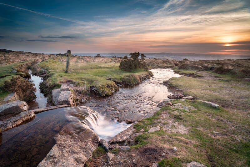 Zonsondergang op Dartmoor stock fotografie