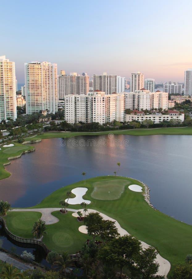 Zonsondergang op de Cursus van het Golf in Miami royalty-vrije stock foto's