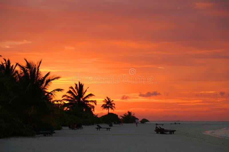 Zonsondergang op de eilanden van de Maldiven stock fotografie