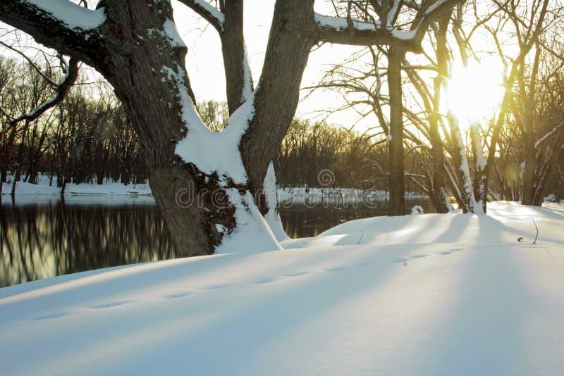 Zonsondergang op de Grote Rivier in Michigan stock afbeelding